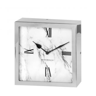 Table-clock-Chuck-marble-silver-20c