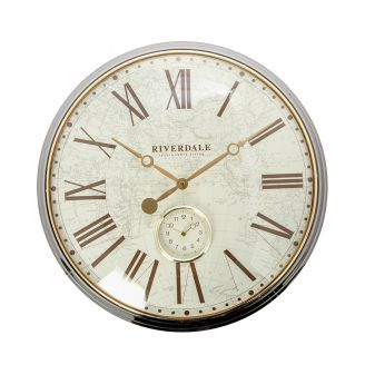 Wall-clock-Worldmap-bronze-50cm